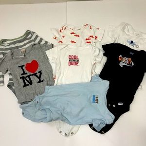 Lot of 7: Baby Bodysuits Short Sleeve 6Mo